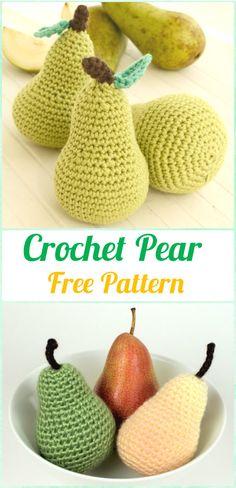 Crochet Amigurumi patrón libre de la pera - Crochet Amigurumi Frutas patrones libres