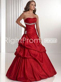 Luxurious Taffeta Strapless A-line Asymmetrical Pick-up Skirt Ball Gown Prom Dresses FL31