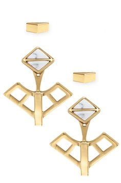 The versatile Mondrian Ear Jacket set can be worn four different ways. The white stone and gold fit together to create a modern look, only from Stella & Dot.