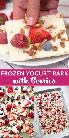 Yogurt Bark with Berries - Frozen yogurt studded with gorgeous blue and red berries! A delicious, fun, and healthy dessert!Frozen Yogurt Bark with Berries - Frozen yogurt studded with gorgeous blue and red berries! A delicious, fun, and healthy dessert! Healthy Sweets, Healthy Dessert Recipes, Gourmet Recipes, Cake Recipes, Healthy Drinks, Dinner Recipes, Healthy Sweet Snacks, Valentines Healthy Treats, Easy Healthy Deserts