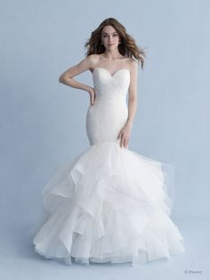 Style #Ariel-D260 Sample available at Ellynne Bridal (Lincoln, Nebraska) for National Bridal Sale: July 17th - July 24th 2021. Visit our website or call to book an appointment: (402)-489-7770 Disney Wedding Gowns, Princess Wedding Dresses, Bridal Dresses, Princess Bridal, Ruched Wedding Dress, Disney Weddings, Modest Wedding, Wedding Outfits, Gown Wedding