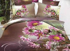 New Arrival Beautiful Purple Daisy Flowers Print 4 Piece Bedding Sets  @beddingtons bed & bath inn