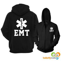 Express yourself with this design. Show your passion as an EMT. This warm well fitted full zip reflective hoodie with zipper pockets is the perfect way to showcase your passion and be seen both night