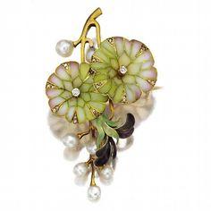 Pearl pendant / brooch: art nouveau gold, plaque-À-jour enamel, circa 1900. - (victorian, vintage lady, jewelry)