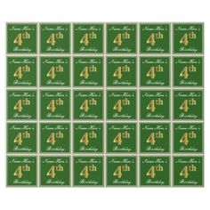 Elegant Green Faux Gold 4th Birthday  Name Wrapping Paper - craft supplies diy custom design supply special