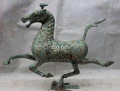 Canzone voge gemma S1278 14 Cina Bronzo Argento Dorato Palazzo Reale Rondine Uccello equitazione Chebi Statua D0318(China (Mainland))