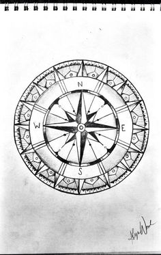 Compass Drawing Sketch Black And White Tattoo