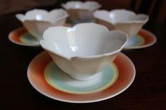 Vintage 1970s Japanese lotus bowls and Bavarian dessert plates - so cute!!