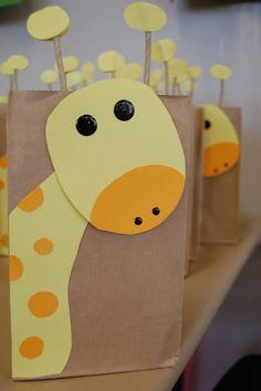 Giraffe Bag Favors (link is broken....like the pic for cake shape)
