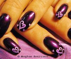 Acrylic+Nail+Art+Valentine's+Day | Valentine's Day nail art with red hearts and curved black design ...