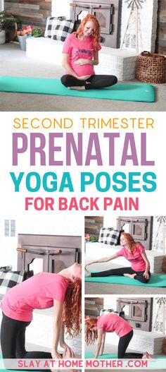 These 8 easy yoga poses for beginners can help relieve the back pain that comes with the second trimester and your growing bump. Prenatal yoga can be a great way to stretch your hips, back, and legs while alleviating mental stress while pregnant. Prenatal Yoga Poses, Prenatal Workout, Pregnancy Workout, Pregnancy Tips, Pregnancy Belly, Winter Pregnancy, Pregnancy Timeline, Pregnancy Facts, Pregnancy Journal