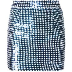 Ashish Gingham Sequins Mini Skirt (3.115 RON) ❤ liked on Polyvore featuring skirts, mini skirts, falda, blue, ashish, blue gingham skirt, mini skirt, sequin skirt and short mini skirts