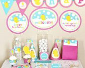 Girl Rubber Ducky Birthday Decorations Printable - Rubber Duck Birthday Party - Instant Download - Pink and Yellow First Birthday - Girl