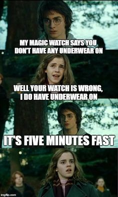 Horny Harry Meme | MY MAGIC WATCH SAYS YOU DON'T HAVE ANY UNDERWEAR ON WELL YOUR WATCH IS WRONG, I DO HAVE UNDERWEAR ON IT'S FIVE MINUTES FAST | image tagged in memes,horny harry | made w/ Imgflip meme maker