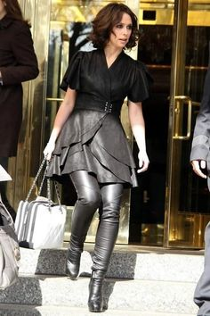 Veggie leather suede wrap dress paired with high leather boots.