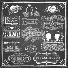 Chalkboard Wedding Invitation Elements Royalty Free Stock Vector Art Illustration