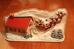 Vintage Christmas Royalite Plastic Lighted Santa Workshop - WORKS - w/ Box! Decorating With Christmas Lights, Christmas Decorations, Santas Workshop, Christmas Snowman, Light Up, Vintage Christmas, Gingerbread, Plastic, Box