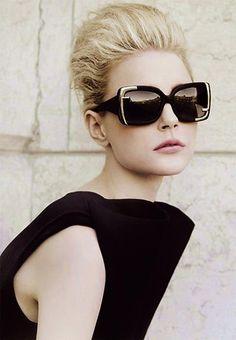 Oversized glasses, updo, black dress - Fendi