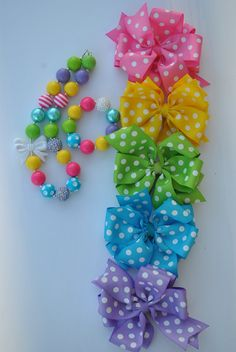 SPRINGTIME Necklace and Bow Set -  JellyBead Collections - photo prop - girls chunky necklace and bow