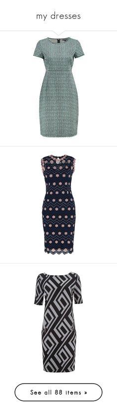 """my dresses"" by vesper1977 ❤ liked on Polyvore featuring dresses, geometric print dress, geometric pattern dress, geo print dress, jacquard dress, geo dress, fit flare dress, petite fit and flare dresses, lace fit-and-flare dresses and lace fit and flare dress"