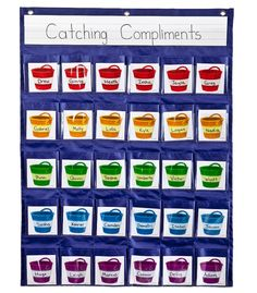 Encourage kindness and good behavior with the Positive Reinforcement Pocket Chart.  Features includes 1 clear storage pocket, 30 fabric pockets with clear outer pockets, 30 bucket cards, teacher resource guide and sturdy grommets for easy hanging.