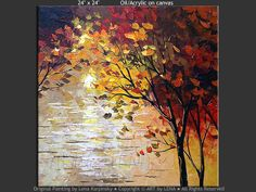 """My Lake"" - Original Landscape Art by Lena Karpinsky, http://www.artbylena.com/original-painting/21099/my-lake.html"