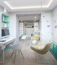 AN APARTMENT IN KIEV WITH A SCANDINAVIAN KIDS BEDROOM DECOR AND A TOUCH OF GREEN MINT COLOR.