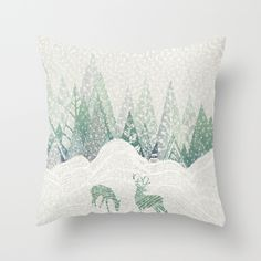 Winter Forest christmas and winter decor throw pillows by Rskinner1122