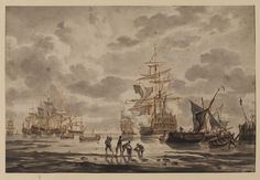 """""""Fleet at Anchor"""" by Hendrik Kobell (1776) at the Courtauld Gallery, London"""