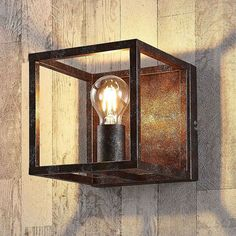 Rust-colored Emin metal wall lamp - DIY and Crafts Rustic Light Fixtures, Rustic Wall Sconces, Rustic Lighting, Metal Wall Decor, Candle Sconces, Spot Luminaire, Diy Luminaire, Luminaire Mural, Colores Paredes