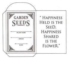 Content in a Cottage...seed saving envelope template