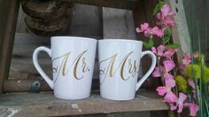 Check out this item in my Etsy shop https://www.etsy.com/listing/263963872/mr-mrs-coffee-mug-set-gold-unique