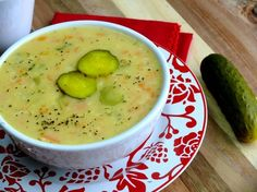 Dill Pickle Soup serve with a rustic bread for a delicious meal