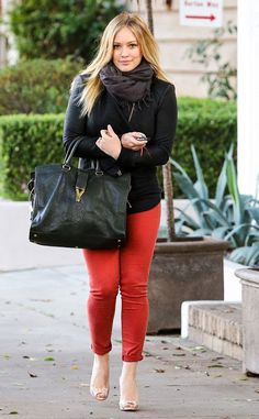 Beauty and the Mist - everything about beauty: Red Alert: Hilary Duff look all grown up in gorgeous scarlet skinnies