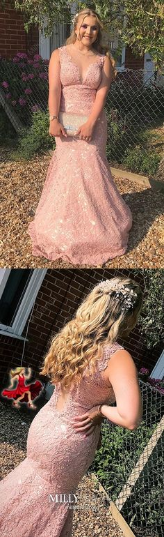 Pink Formal Dresses Long, Mermaid Prom Dresses for Teens, Lace Evening Dresses V-neck, Tulle Wedding Party Dresses Elegant Pretty Homecoming Dresses, Prom Dresses Long Modest, Senior Prom Dresses, Pink Formal Dresses, Dresses Elegant, Tulle Prom Dress, Formal Evening Dresses, Pageant Dresses, Evening Dresses