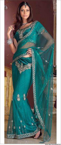Blue Lehenga Saree with a Velvet Blouse #Lehenga Saree