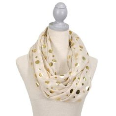 Glamour Polka Dot Scarf (Ivory/Gold) FREE SHIPPING www.thepreppypair.com