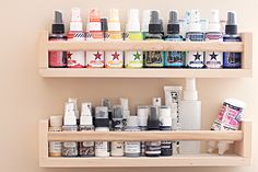 Heather Greenwood | Scrapbooker + Mixed Media Artist: Organization Tip:  shelves from IKEA ....for color mists..
