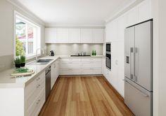 A modern take on the shaker door profile kitchen. #DanKitchensAus
