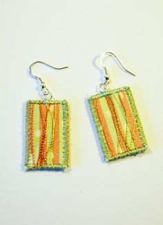 BOHO TEXTILE EARRINGS upcycled silk green pink by HeketDesigns