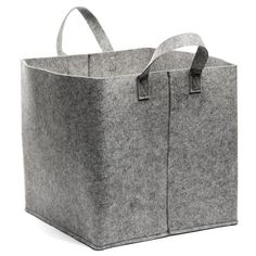 Citta Design   Grey Felt Square Storage Basket With Handles