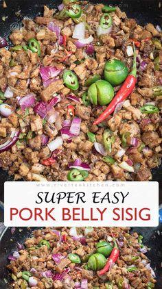 Best Pork Belly Recipe, Pork Belly Recipes, Sauce Recipes, Cooking Recipes, Easy Filipino Recipes, Filipino Dishes, Filipino Street Food, Filipino Food, Sisig Recipe Philippines