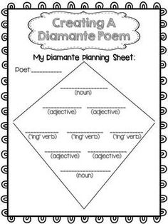 POETRY WRITING FREEBIE {DIAMANTE POETRY} - TeachersPayTeachers.com