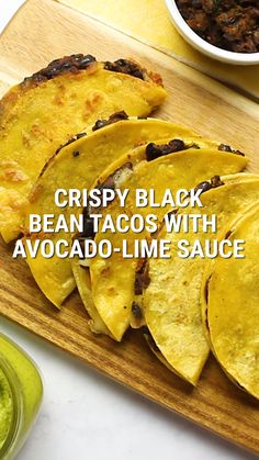 Crispy Black Bean Tacos with Avocado-Lime Sauce These crunchy tacos filled with perfectly spiced black beans and melty cheese are seriously addictive! The avocado lime sauce is to die for. A simple vegetarian meal that kids, teens and adults will love! Vegetarian Tacos, Tasty Vegetarian Recipes, Veggie Recipes, Whole Food Recipes, Cooking Recipes, Healthy Recipes, Family Recipes, Simple Vegetarian Recipes, Simple Food Recipes