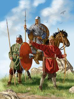 Army of Charlemagne, artwork by J. Shumate- CHARLEMAGNE. 4)BIOGRAPHIE. 4.4 CONDITIONS DE L'EXPENSION 4.4.3: ARMEE et GUERRE A L'EPOQUE DE CHARLEMAGNE, 1: Le principe fondamental de l'armée de Charlemagne reste celui de l'armée franque: elle est composée par des hommes libres qui ont le droit et le devoir de participer à l'armée (y compris ceux des territoires récemment conquis). L'armée peut être convoquée chaque année pendant la période de guerre (printemps-été).