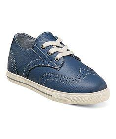 Blue Leather Flash Wing Sneaker - Kids