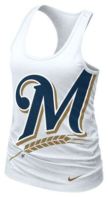 96da925670b721 Milwaukee Brewers MLB Nike Women s White Cotton Racerback Tank Nike Tops