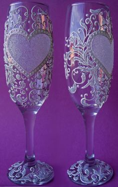 Gallery.ru / Свадебные бокалы - СВАДЕБНЫЕ БОКАЛЫ - YS-art Wine Glass Crafts, Wine Bottle Crafts, Bottle Art, Decorated Wine Glasses, Painted Wine Glasses, Wedding Wine Glasses, Wedding Flutes, Wine Glass Designs, Decoupage Glass