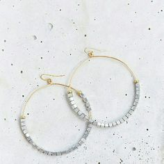 "Vanessa Mooney Beaded Hoop Earrings NWOT/included in plastic sleeve.  These gold-plated, wire drop-hoop earrings feature silver-plated beads.  Sold at Shopbop!   * 3"" (7.5 cm), including French hook. * Handmade in Los Angeles. * NOTE: Stock photos. Third photo to show various styles/size. Selling the pair that's gold plated wire drop hoop w silver plated beads seen in first 2 photos! Vanessa Mooney Jewelry Earrings"