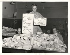 1942- U.S. soldier at the Army Post Office displays the right and wrong ways to address mail intended for soldiers who are serving overseas.